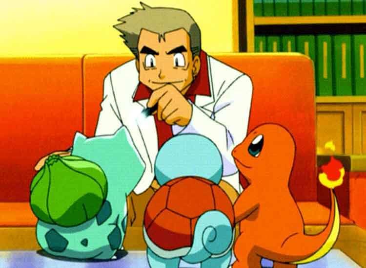 El profesor Oak, aquí en su versión animada, nos presentará la primera importante opción a la hora de jugar a Pokémon: elegir el pokémon inicial de entre tres (Bulbasaur, Squirtle y Charmander, de tipo planta, agua y fuego, respectivamente). Aquí un juego irónico: Mi primera elección, allá por 1999, fue Bulbasaur. Aunque mi tipo favorito es el agua (en mi safari de Pokémon X/Y, para más inri, aparecen pokémon de tipo agua) y Charmander es mi favorito de los tres iniciales (conservo hasta un peluche de 1999 de Charmander).