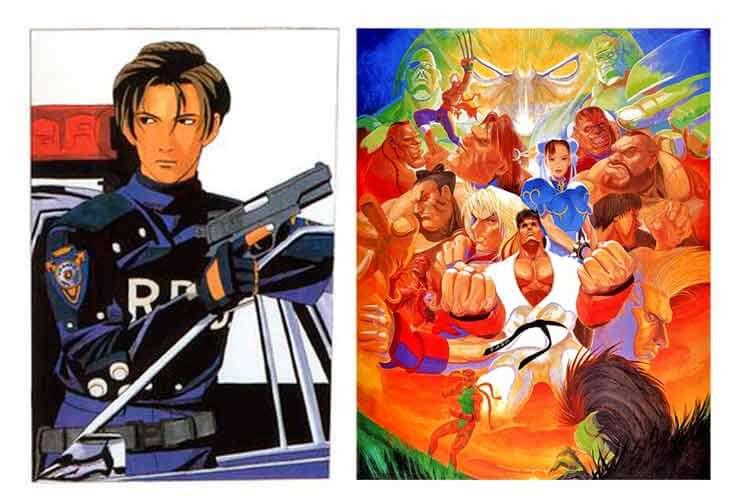 Izquierda, Leon Scott Kennedy, de Resident Evil 2 (1998). Derecha, arte oficial de Dai-chan para Super Street Fighter II (1993).