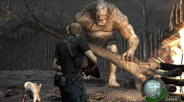 Leon se enfrenta a El Gigante, un jefe de final de nivel en Resident Evil 4 (captura de la versión HD de 2014 para PC). El lobo de la imagen puede ser ayudado por el jugador a escapar de un cepo, y en tal caso, le prestará ayuda en este combate para distraer al enemigo.
