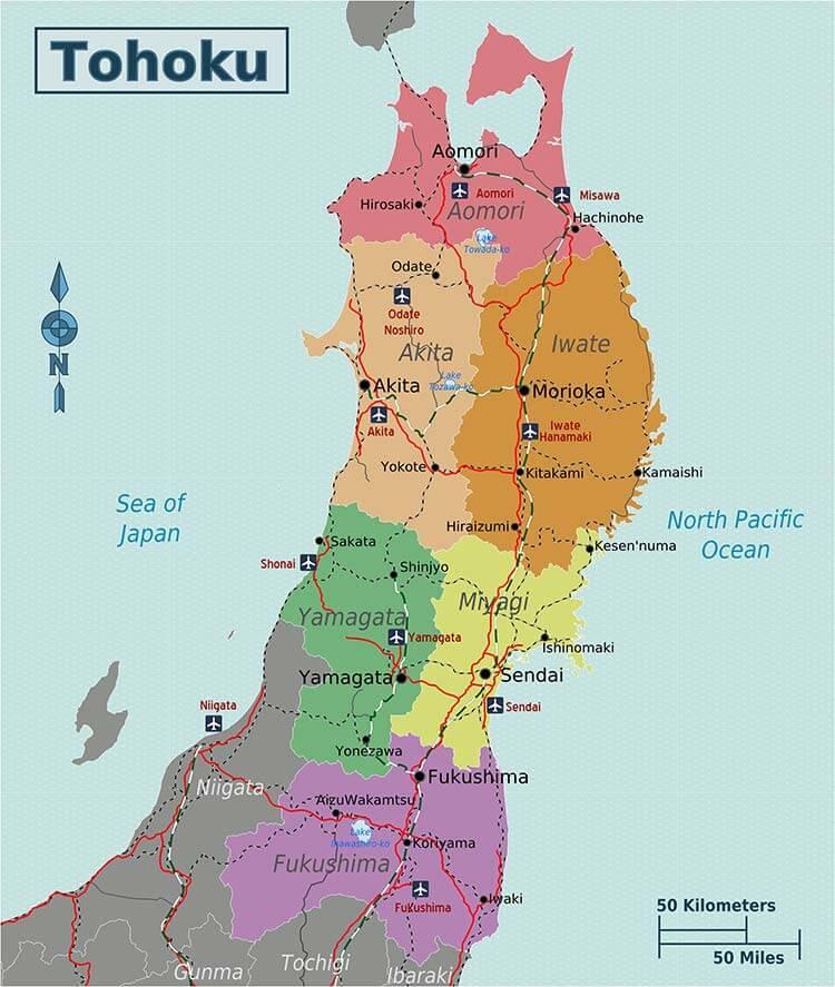 Mapa de Tohoku.