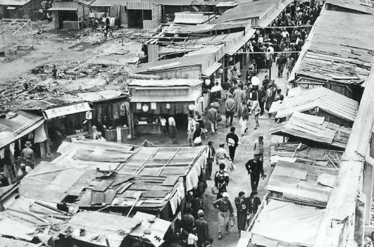 Puestos de venta durante la ocupación, Shinjuku, Tokio