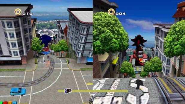 Sonic y Shadow en Sonic Adventure 2 (2001, Dreamcast)