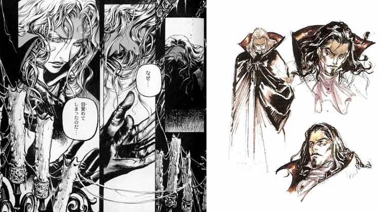 Aquí unas muestras del trabajo de Ayami Kojima. Izquierda: unas imágenes del manga de Symphony of the Night, tal como aparecen en el libro de arte de dicho videojuego. A la derecha, bocetos que muestran el diseño de Drácula para Symphony of the Night.