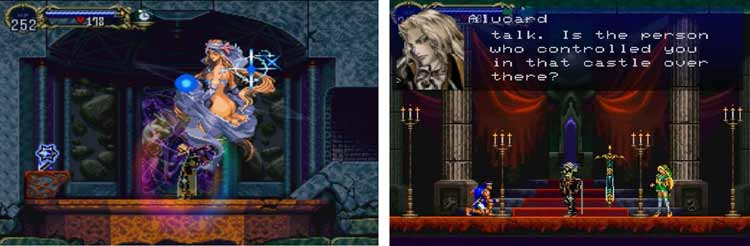 """Izquierda: Alucard realiza un hechizo. Derecha: Alucard confronta a Richter Belmont, tras enfrentarse a él (en el final """"bueno"""", no le derrota, y el combate se detiene para que Alucard ayude a Richter Belmont a permitirle enfrentar al verdadero enemigo de los protagonistas)."""
