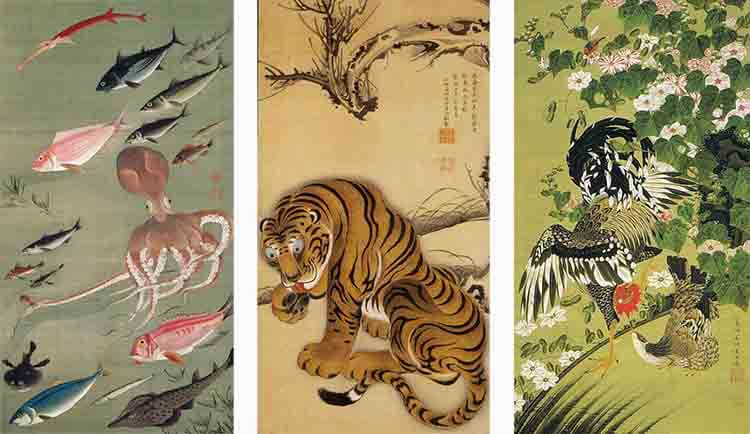Diferentes obras de Ito Jakuchu
