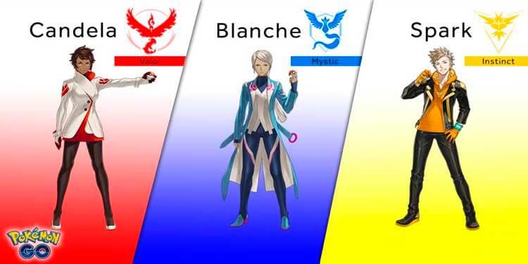 Los distintos equipos que los jugadores de Pokémon Go podrán escoger durante su aventura.