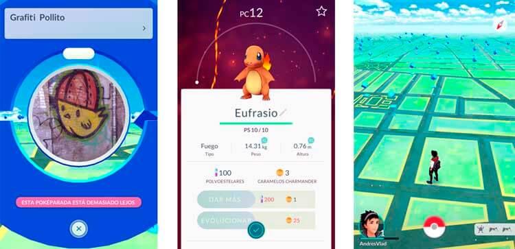 A la izquierda, muestra de un grafiti que encontré yendo a la Biblioteca, casualmente, una Poképarada. En el centro, mi Charmander, Eufrasio (llamado como todos mis Charmander desde mi primera partida de Pokémon Rojo, cuando era pequeño). Derecha, el mapa de Málaga, plagado de Poképaradas.