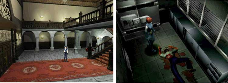 Izquierda, Resident Evil en su versión Director's Cut de 1997 para Playstation. Derecha, Dino Crisis, 1999, Playstation.