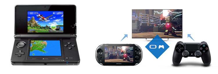 A la izquierda, el modelo original de 3DS de 2011, corriendo el videojuego Pilotwings Resort. A la derecha, imagen en la que Sony nos muestra la capacidad de PsVita de utilizarse como mando (y pantalla para juego remoto) de PlayStation 4.