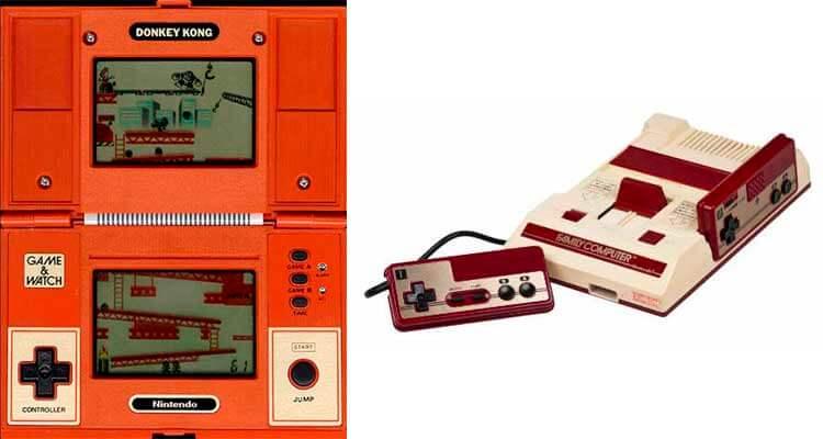 El modelo de Game & Watch de Donkey Kong, donde podemos ver la cruceta de control, y, a su derecha, la versión original de la Nintendo Famicom de 1983, que también incorporaba dicho control direccional.