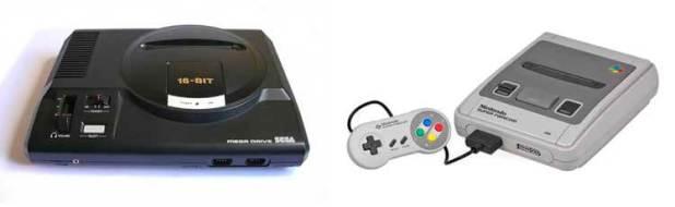 Sega Megadrive en su versión europea, y la versión japonesa de Super Nintendo (Super Famicom).