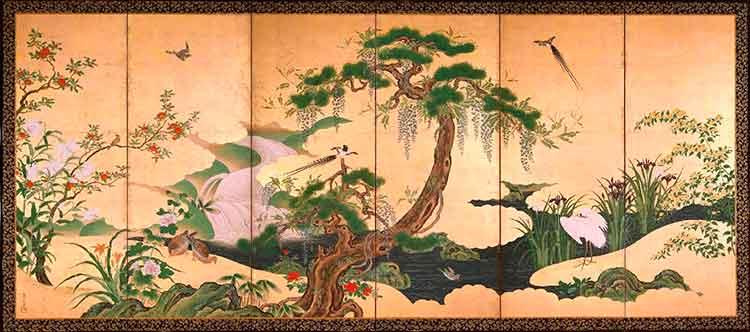 Pájaros de primavera y verano de Kano Eiino