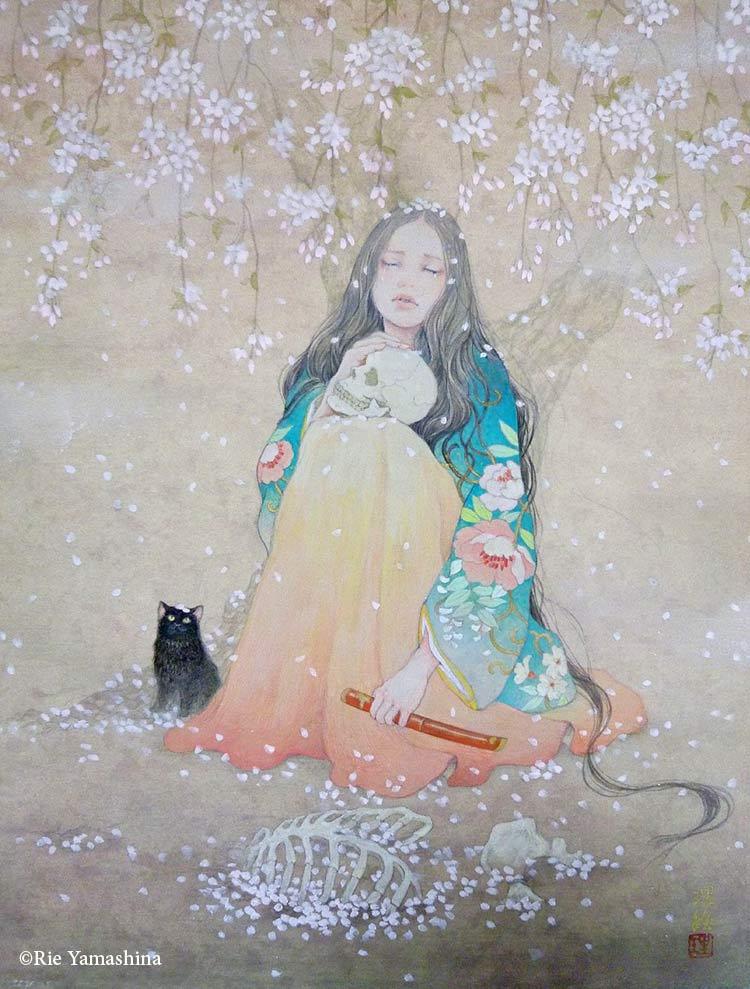 «Itoshiki Shikabane (愛しき屍), La querida cadaver » en 2015  33.3cm x 24.2cm Materiales: 雲肌麻紙に岩絵具、水彩絵具、鉛筆、金泥
