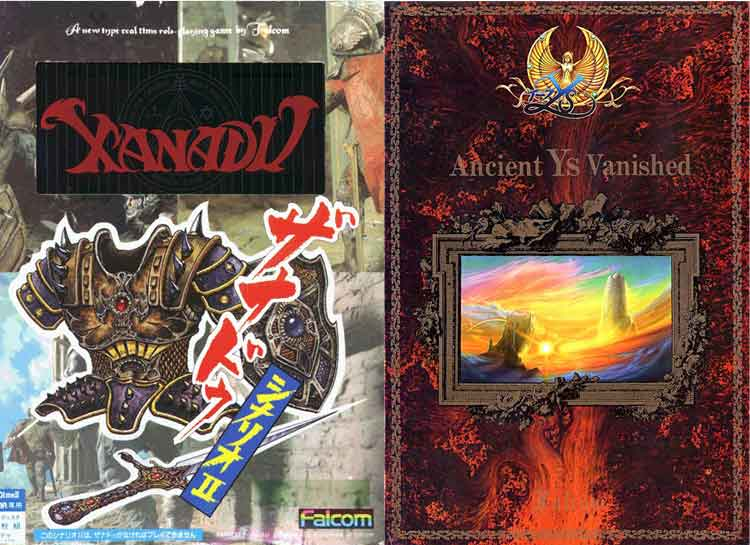 Carátulas de Dragon Slayer II: Xanadu – Scenario II (1986) y carátula de Ys I: Ancient Ys Vanished (1987).
