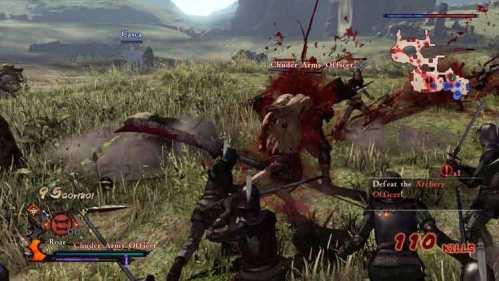 Zodd el Inmortal troceando a sus adversarios en el Modo Libre de Berserk and the Band of the Hawk.