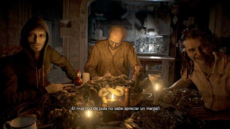 La conocida escena de la cena con los Baker. Uno de los momentos clave del videojuego, en el que por fin, se nos muestra con toda claridad y crudeza el lugar en que se ha metido Mia, y el estado mental de que harán gala nuestros anfitriones.