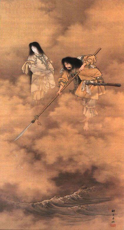 Izanagi e Izanami. Kobayashi Eitaku (S. XIX) wikipedia CC.