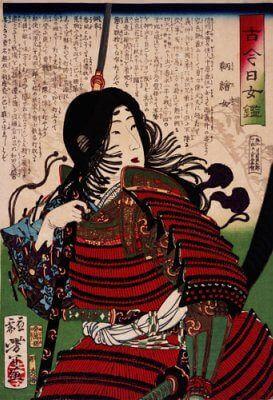 Tomoe Gozen. Ukiyo-e de Tsukioka Yoshitoshi (S. XIX) British Museum colección online.