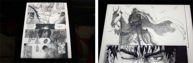 Imágenes correspondientes al manga de Berserk, en el lector Kobo Aura H20 Edition 2, con la luz natural desactivada para que el aspecto de la pantalla sea más similar a cómo luce el manga en papel impreso.
