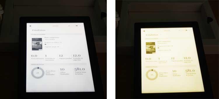 Aquí podemos distinguir la diferencia existente entre tener la iluminación ComforLight desactivada o activarla al completo. En ambas imágenes, pantalla de estadísticas del Kobo Aura H20 Edition 2.