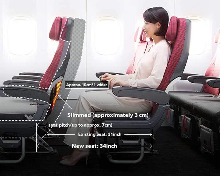 Imagen de Japan Airlines que explica algunos aspectos del diseño de los asientos Sky Wider.