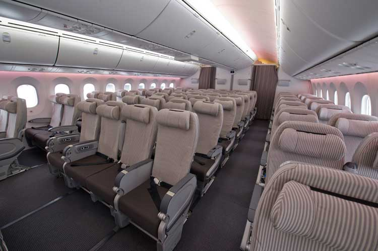 En esta imagen, podemos observar la distribución de asientos de un Boeing 787 de la compañía Japan Airlines.