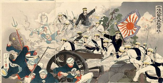 Ukiyo-e de la guerra ruso japonesa. Fuente: https://upload.wikimedia.org/wikipedia/commons/thumb/c/ce/Battle_of_Pyongyang_by_Mizuno_To.jpg/650px-Battle_of_Pyongyang_by_Mizuno_To.jpg