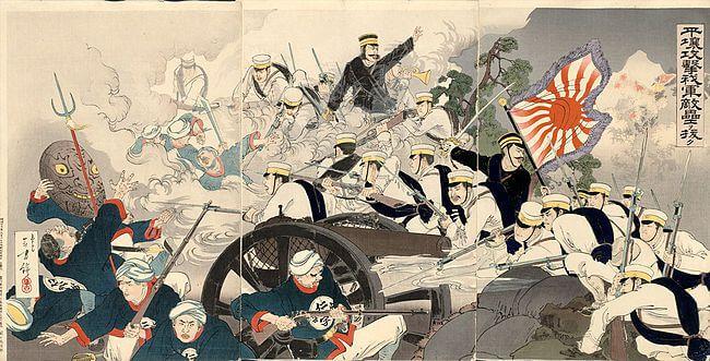 Ukiyo-e de la guerra ruso japonesa. Fuente: https://upload.wikimedia.org/wikipedia/commons/thumb/c/ce/Battle_of_Pyongyang_by_Mizuno_To.jpg/650px-Battle_of_Pyongyang_by_Mizuno_To.jpg