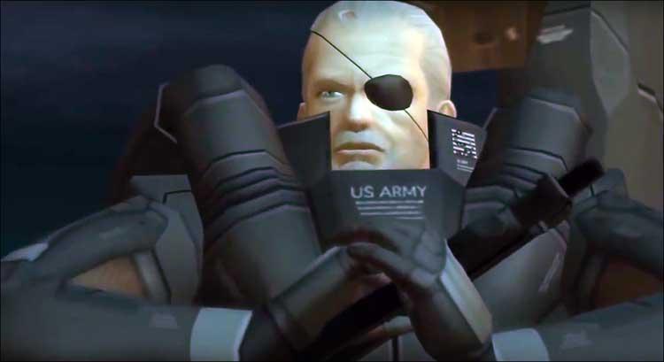 Solidus Snake, líder del grupo Sons of Liberty. Es otro de los clones de Big Boss, y su parecido con él es aun mayor cuando durante el transcurso de Metal Gear Solid 2, pierde un ojo.