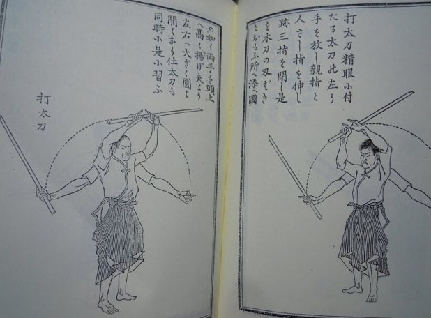 Antiguo libro que ilustra las técnicas de Kashima Shinden Jikishinkage ryû kenjutsu
