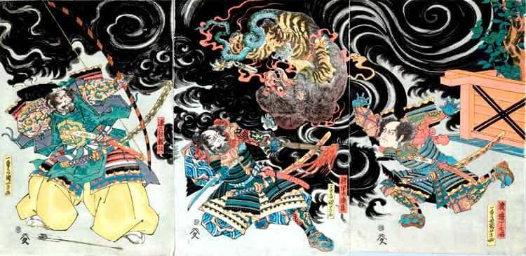 Minamoto no Yorimasa vence al Nue, una obra del famoso artista Kuniyoshi Utagawa que podréis ver en persona en esta exposición