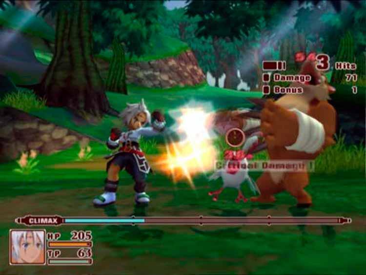 La pantalla de combate de Tales of Legendia. Como podemos comprobar, mantiene el estilo de la saga por combates basados en una vista lateral, estando o no en 3d los elementos mostrados.