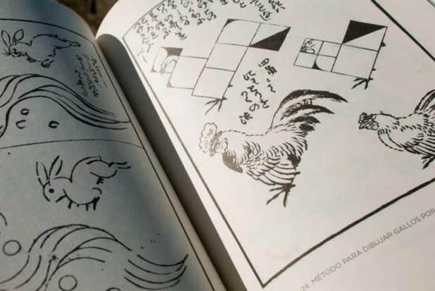 En esta imagen, método para dibujar una liebre cruzando las olas y método para dibujar gallos por medio de cuadrados.