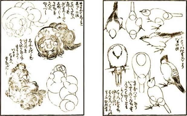 Método para dibujar leones mediante círculos y método para componer pequeños pájaros desde la forma del huevo.