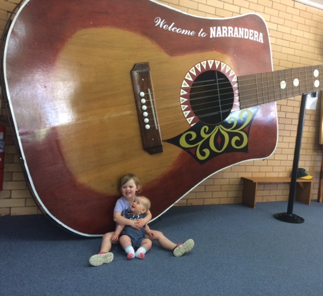The girls first Australian big thing with the Big Guitar.