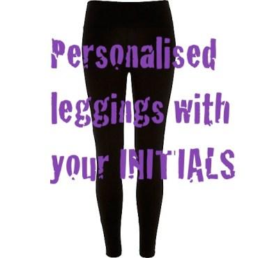 black leggings with initials