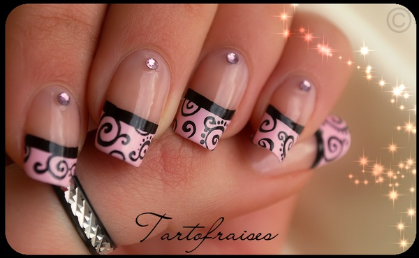 Black And Pink French Tip Nail Designs 71
