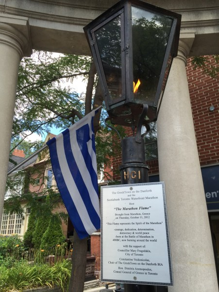 The Marathon Flame in Greektown