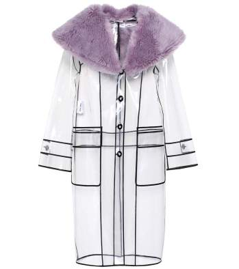 MIU MIU / Faux Fur-Trimmed Raincoat / $2,815