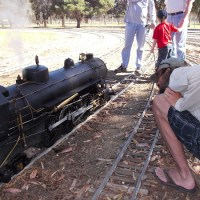 "People ride cool ""live steam"" trains in San Diego!"