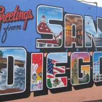 Colorful mural: Greetings from San Diego!