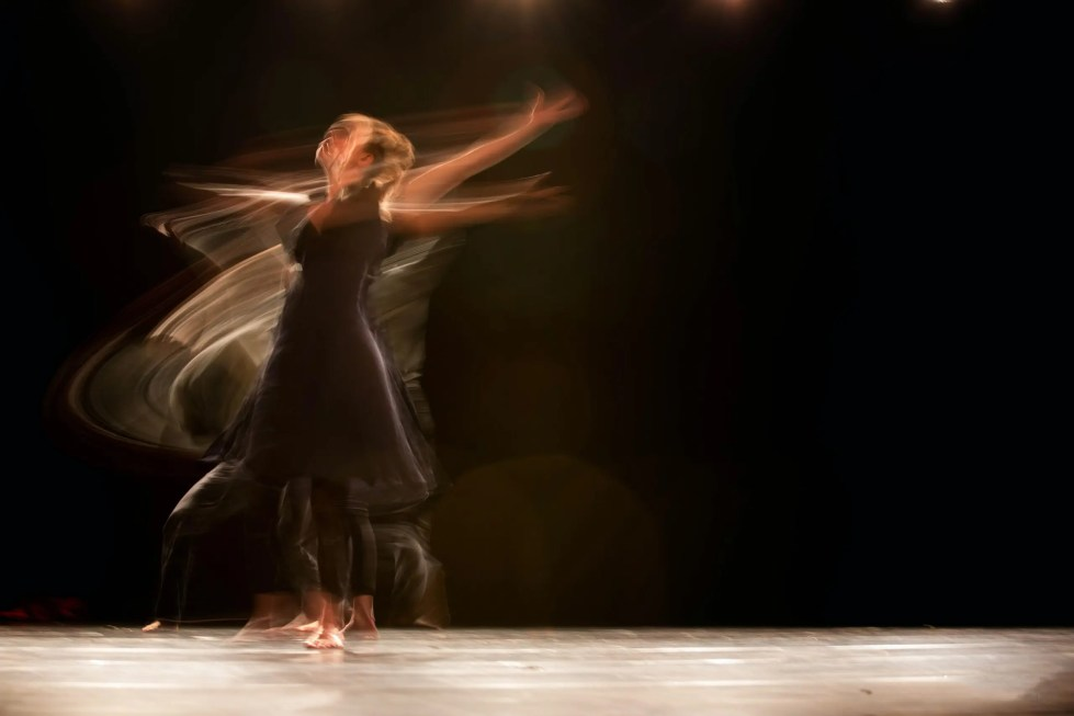 Distorted picture of dancer moving