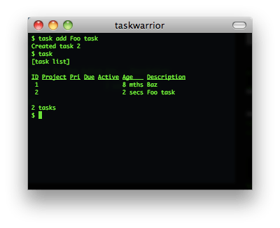 taskwarrior screenshot