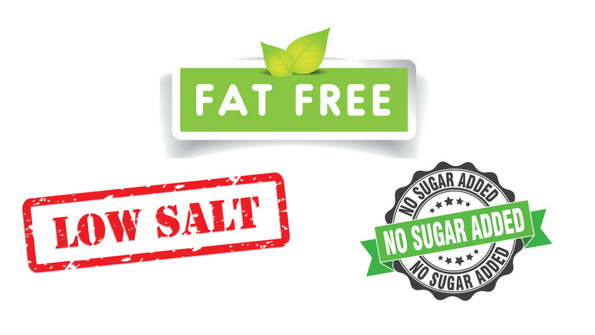 fat free low salt no sugar added labels