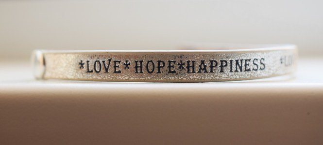 love, hope, happiness bracelet