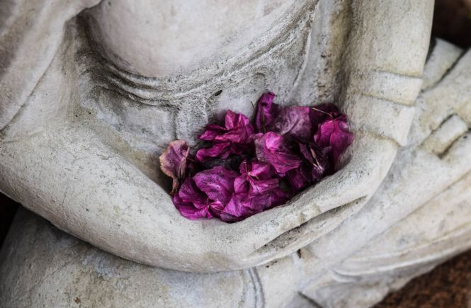 Buddha holding flower petals at stomach - gut health