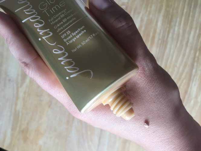 Swatch of Jane Iredale glow time BB cream on hand