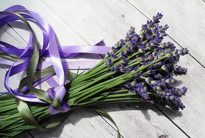A lavender bouquet with purple ribbon