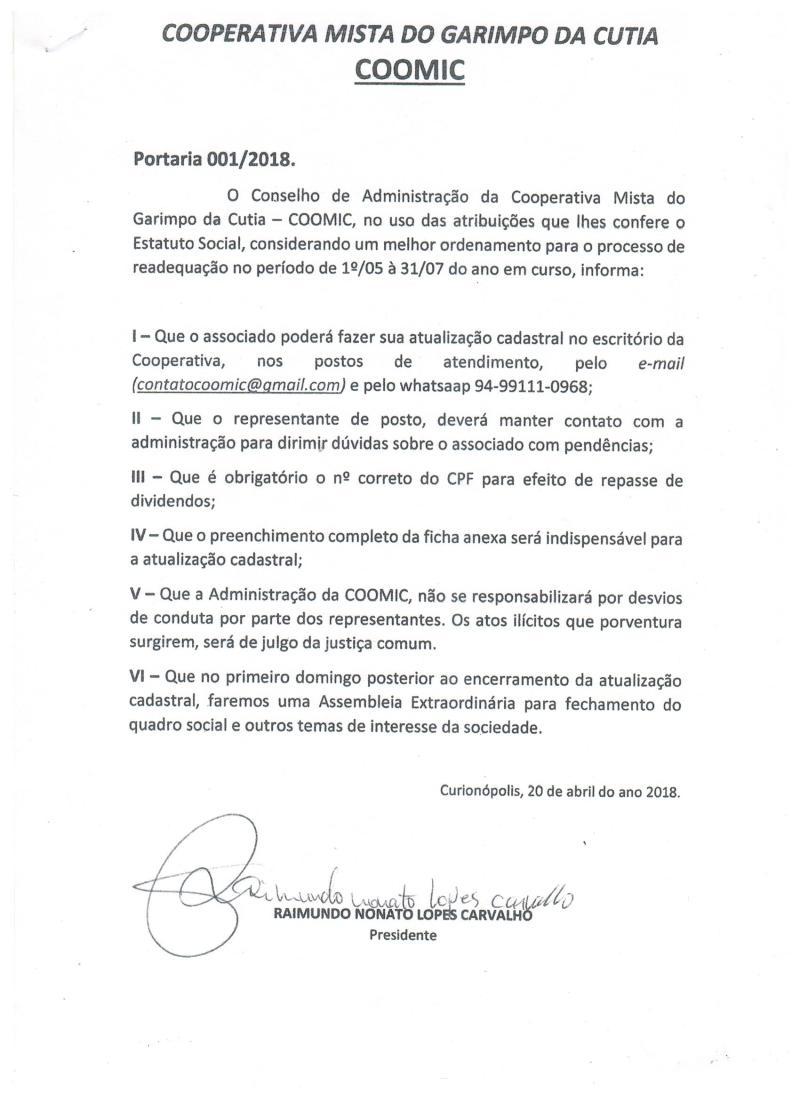 PORTARIA_COOMIC 001