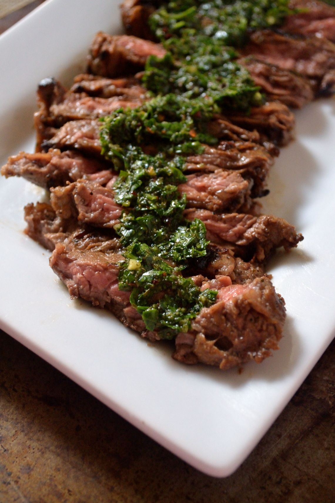 Marinaded Skirt Steak and Chimichurri Sauce